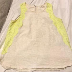 Madewell White and neon yellow tank